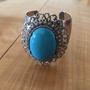 Jewelry - ⭐️2/$20 Silver Turquoise Statement Cuff Bracelet